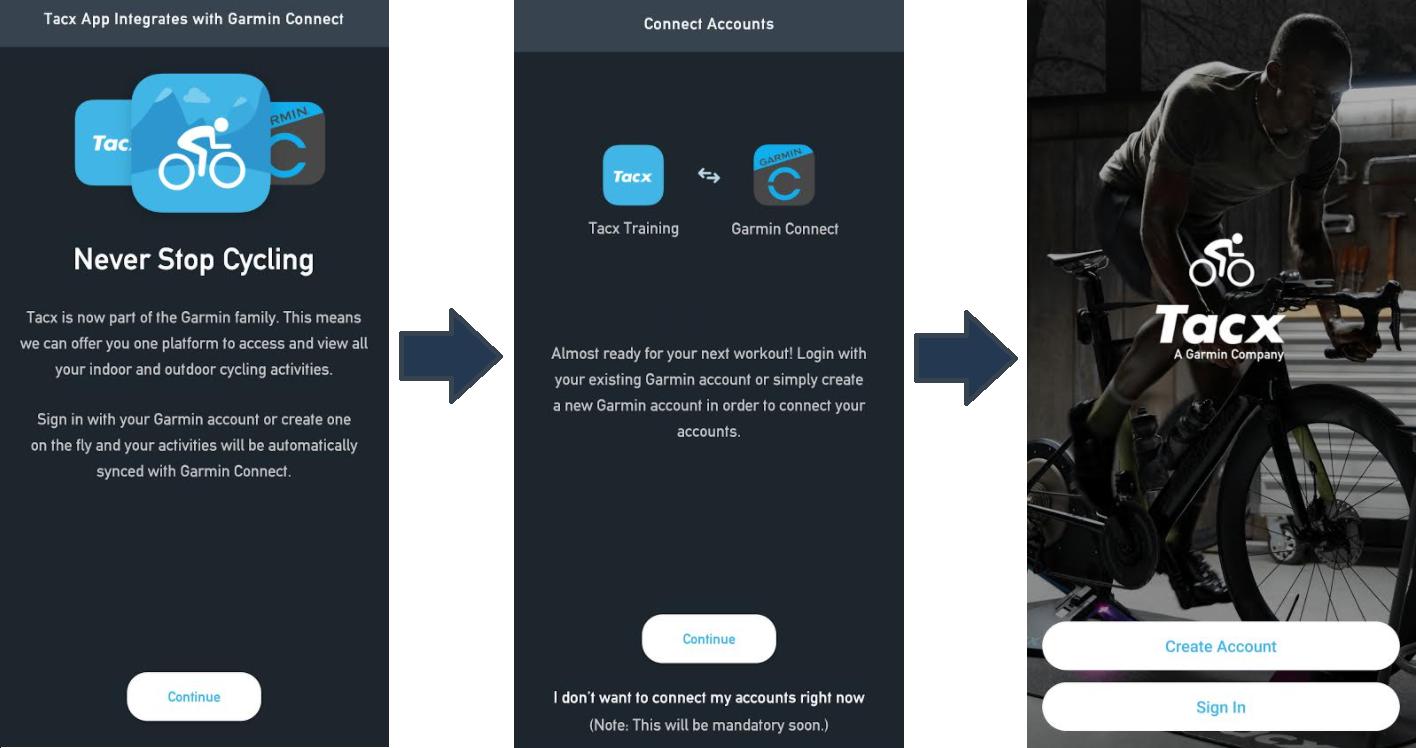 Screenshoty procesu zlučovania účtov aplikácie Tacx Training