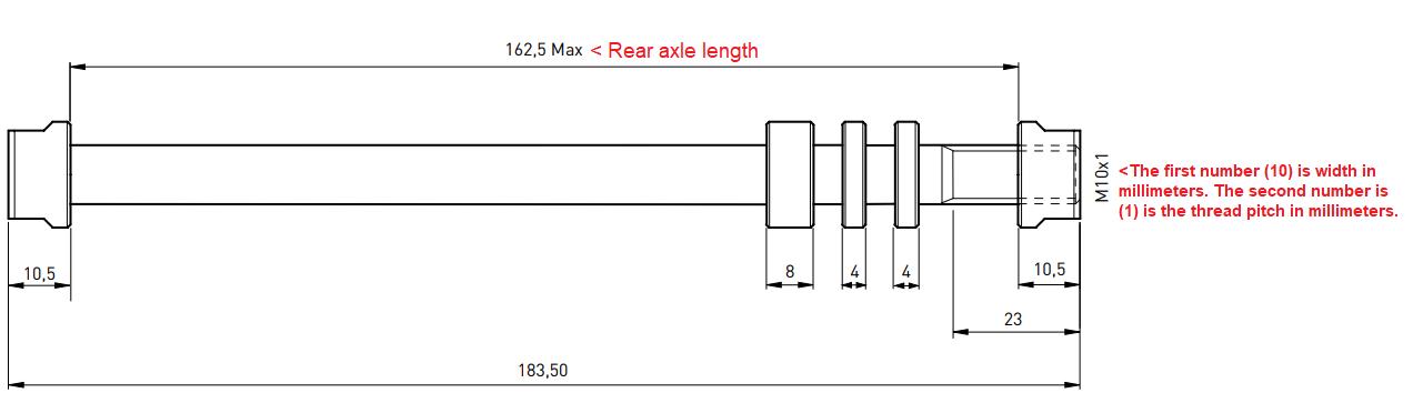 Tacx T1707 Axles for E-Thru 12mm Rear Wheel