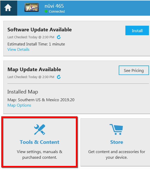 Activate a Map Update to a Device Using a Product Key