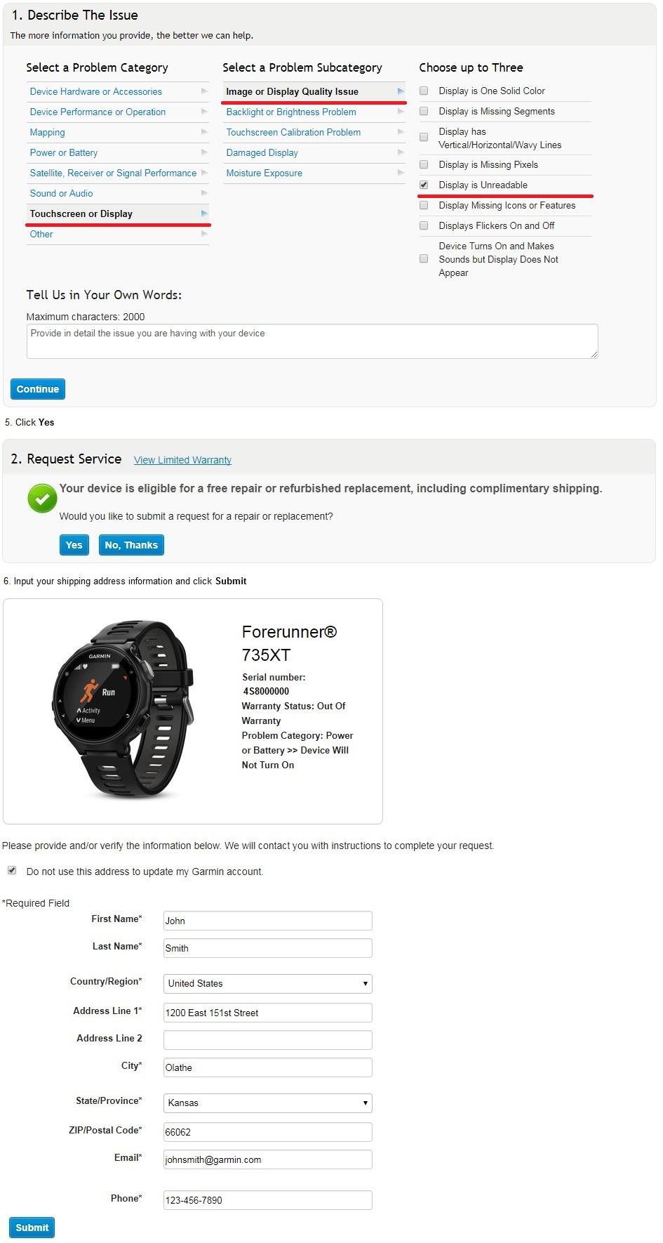 Forerunner 735xt Display Issues Garmin Support