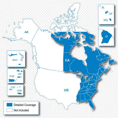 North American Map Regions - Garmin map indonesia us