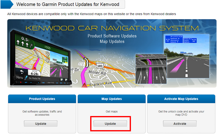 Update Maps and Software on a Kenwood Device | Garmin Support