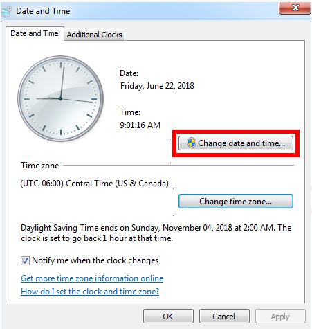 Verify the Date, Time, and Time Zone Settings on a Computer