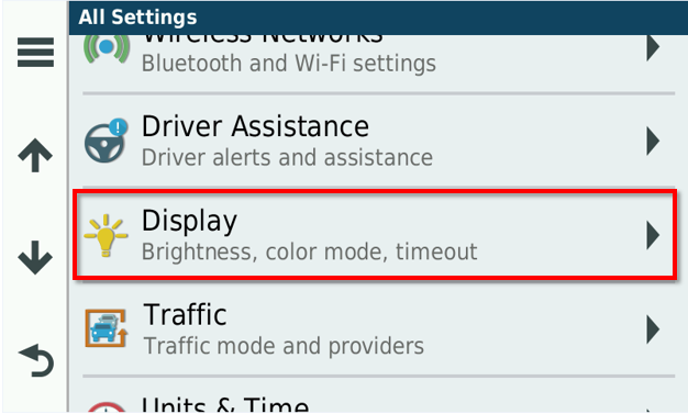 Changing the Screen Brightness on an Automotive Device/Dim