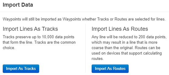 Importing Waypoints, Routes and Tracks to the Explore Website