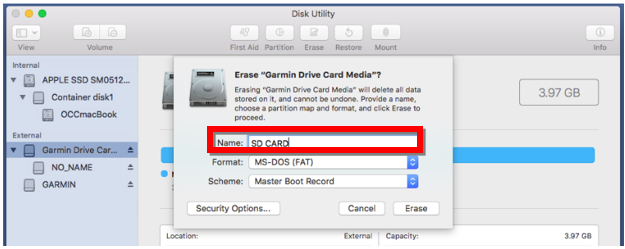 Formatting a microSD/SD Card on a Mac | Garmin Support