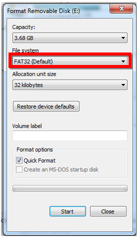 Format a USB Flash Drive for use with a Kenwood Device